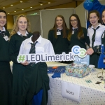 "22/03/2018 Sarah Darcy, Ella Whelan, Holly Meredith, Emma Darcy, Niamh Foley and Roisin Mann from Scoile Mhuire agus Ide, Nerwcastle West pictured with their exhibit ""Sciorta"" at the Limerick Local Enterprise Office, Student Enterprise Programme Final Exhibition and Awards Presentation which took place at the Southcourt Hotel, Limerick. Don Moloney / Press 22"