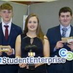 """22/03/2018 Eoienn Ferron, Breda Magner and Evan Condon from Desmond College, Newcastle West pictured with their exhibit """"Cycle Safe 2000"""" at the Limerick Local Enterprise Office, Student Enterprise Programme Final Exhibition and Awards Presentation which took place at the Southcourt Hotel, Limerick. Don Moloney / Press 22"""