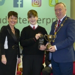 "22/03/2018 Mary Killeen Fitzgerald, Senior Enterprise Development Officer with Limerick LEO and Councillor Stephen Keary, Mayor of Limerick City & County pictured with Evan Quaid from Hazelwood College pictured with his exhibit ""Quaid Candles"" at the Limerick Local Enterprise Office, Student Enterprise Programme Final Exhibition and Awards Presentation which took place at the Southcourt Hotel, Limerick. Don Moloney / Press 22"