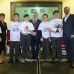 """22/03/2018 Mary Killeen Fitzgerald, Senior Enterprise Development Officer with Limerick LEO and Councillor Stephen Keary, Mayor of Limerick City & County pictured with Joe Kelly, Ciaran Fitzgerald, Adam Flahive and Finlay Robertson from Castletroy College with their exhibit """"App of Troy"""" at the Limerick Local Enterprise Office, Student Enterprise Programme Final Exhibition and Awards Presentation which took place at the Southcourt Hotel, Limerick. Don Moloney / Press 22"""