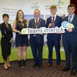 "22/03/2018 Mary Killeen Fitzgerald, Senior Enterprise Development Officer with Limerick LEO and Councillor Stephen Keary, Mayor of Limerick City & County pictured with Eoienn Ferron, Breda Magner and Evan Condon from Desmond College, Newcastle West pictured with their exhibit ""Cycle Safe 2000"" at the Limerick Local Enterprise Office, Student Enterprise Programme Final Exhibition and Awards Presentation which took place at the Southcourt Hotel, Limerick. Don Moloney / Press 22"