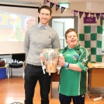 Pictured are the staff and students of Down Syndrome Limerick welcoming the Liam McCarthy cup along with retired hurler Seamus Hickey. Picture: Orla McLaughlin/ilovelimerick.