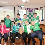 Pictured are the staff and students of Down Syndrome Limerick Back (L-R) Kieran Wagstaffe, James Brennan, Mikie Dore, Conor Keogh, Front (L-R) Ciara McCarthy, Noel Darragh Martin, Emma Hoban, Fiona McKennedy. They welcomed the Liam McCarthy cup along with retired hurler Seamus Hickey to the centre. Picture: Orla McLaughlin/ilovelimerick.