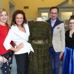 Olivia O'Sullivan, Celia Holman Lee, Robert Burn and Kathleen O'Sullivan with a Sybil Connolly dress that Celia modeled years ago at Sybil: An Irish entrepreneur & fashion designer' at the Hunt Museum. Picture: Zoe Conway/ilovelimerick 2018. All Rights Reserved