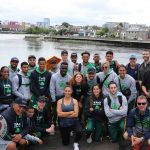 Pictured on the site visit of Limerick city for the Tag Rugby World Cup event coming to the University of Limerick in 2021 is Limerick tour operator Dan Murphy from Hermitage Green with the South African tag rugby team. Picture: Conor Owens/ilovelimerick.