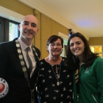 Tait House hosted a fundraiser for local group of bereaved parents, Lost Futures on September 6 at Mr.Tait's Cafe. Picutred: Cllr Daniel Butler, Mayor of the Metropolitan District of Limerick, with Mary Fitzpatrick,co-founder of the Lost Futures Group and Roisin Upton, Limerick hockey player. Picture: Baoyan Zhang/ilovelimerick