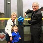 Principal Sinead Toomey, Student Alannah Faulkner and Chairperson Canon Donal MacNamara cutting the ribbon at the official opening of the new school extension of Thomond Primary School, Ballynanty, Friday, June 15th, 2018. Picture: Sophie Goodwin/ilovelimerick.