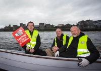 O3.04.15             NO REPRO FEE              Paul O'Connell, AP McCoy and JP McManus kick-start the Team Limerick Clean-Up(TLC). Over 10,000 Volunteers hit the streets of Limerick City and County for the Country's biggest ever Clean-Up.  AP McCoy, Paul O'Connell and Br. Anthony Keane, Glenstall Abbey pictured at Clancy Strand before a team set off in Ilen boats to clean the river banks of the city. Picture: Alan Place/FusionShooters.