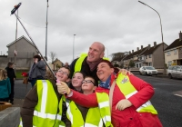 O3.04.15             NO REPRO FEE              Paul O'Connell, AP McCoy and JP McManus kick-start the Team Limerick Clean-Up(TLC). Over 10,000 Volunteers hit the streets of Limerick City and County for the Country's biggest ever Clean-Up.  Paul O'Connell was happy top pose for a selfie with , Patrick Finucane, Charley Lynch, Luke Finucane and Mary Fitzpatrick who were out doing their bit for the Team Limerick Clean-Up at Southill. Picture: Alan Place/FusionShooters.