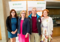 19/07/2015     REPRO FREE The 36th World Medical and Health Games was officially opened by Minister Jan O'Sullivan at the University of Limerick on Sunday 19th July. The Games welcome over 1,000 athletes from more than 20 countries to compete across 25 different sports from golf and cycling to chess, fencing triathlon and football. This annual event brings medics from a range of medical professions, consultants, GP's, nurses, paramedics who compete in a spirit of friendship in their chosen sport. Pictured are (l-r) Edel Mitchell, Failte Ireland, Jan O'Sullivan, Minister for Education and Skills, Dave Mahedy, UL Director of Sport, and Linda Stevens, UL Project Director. Picture credit: Diarmuid Greene/Fusionshooters