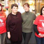 Pictured here is Yvonne Murphy, Ingrid Wallace, Marianne Mulcahy, members of Rape Crisis Mid West, and Denise Hoara, (second in from right) owner of The Green Yard Cafe, raising awareness and funds for rape crisis. February 14, 2018.