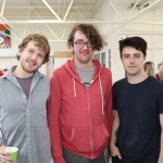 Pictured at the VTOS Limerick 2019 Art, Craft & Design Open Day in the Further Education & Training Centre are students Lorcan Heffernan, Ennis, Dylan Morrow, College Court, and PJ Enright, Carew Park. Picture: Conor Owens/ilovelimerick.