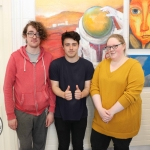 Pictured at the VTOS Limerick 2019 Art, Craft & Design Open Day in the Further Education & Training Centre are students Dylan Morrow, College Court, PJ Enright, Carew Park, and Emma Lynch, Shannon. Picture: Conor Owens/ilovelimerick.
