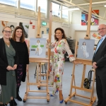 Pictured at the VTOS 2019 open day are Trina Lynch, Further Education Training Manager, Jayne Foley, art teacher, style queen Celia Holman Lee, and Paul Patton, Director of FEAT. Picture: Conor Owens/ilovelimerick.