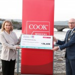 With Compliments.    Michael Collins, Mayor of the City and County of Limerick along with Clare Ellis, Corporate Brand and Communication Senior Manager Cook Medical EMEA with a cheque for €36,600 which will be shared among local charities. Photograph Liam Burke/Press 22