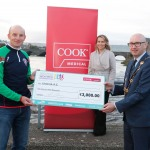 With Compliments.    Michael Collins, Mayor of the City and County of Limerick along with Clare Ellis, Corporate Brand and Communication Senior Manager Cook Medical EMEA presents a cheque for €3,000 to  Mark Whelen, Limerick AC.   Photograph Liam Burke/Press 22