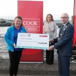 With Compliments.    Michael Collins, Mayor of the City and County of Limerick along with Clare Ellis, Corporate Brand and Communication Senior Manager Cook Medical EMEA with a cheque for €1,625 which they presented to Phil Deegan representing Clion's Foundation. Photograph Liam Burke/Press 22