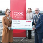 With Compliments.    Michael Collins, Mayor of the City and County of Limerick along with Clare Ellis, Corporate Brand and Communication Senior Manager Cook Medical EMEA presents a cheque for €344 to Una Burne representing NOVAS. Photograph Liam Burke/Press 22