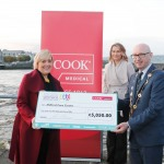 With Compliments.    Michael Collins, Mayor of the City and County of Limerick along with Clare Ellis, Corporate Brand and Communication Senior Manager Cook Medical EMEA presents a cheque for €5,050 to  Anne Marie Hayes representing Milford Care Centre.  Photograph Liam Burke/Press 22